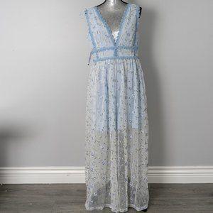 NWT Aqua Embroidered Floral Party Maxi Dress   - L